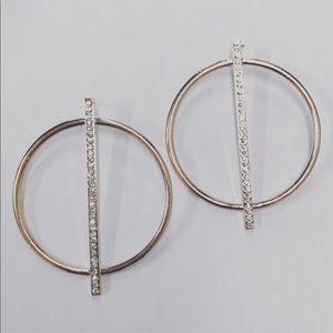 Gold brass zircon hoola earring